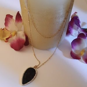 Dainty Double Chain Druzy Pendant Necklace